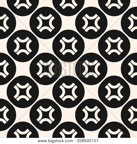 Simple vector seamless pattern with curved crosses in circular lattice. Funky style background, hipster fashion element. Abstract monochrome geometric texture. Design for decor, fabric, furniture, web.