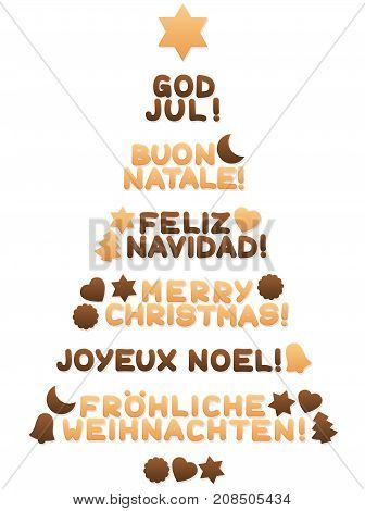 Cookies forming a christmas tree and wishing MERRY CHRISTMAS in spanish, english, swedish, italian, french and german words as a symbol for global xmas joy and peace - isolated vector on white.