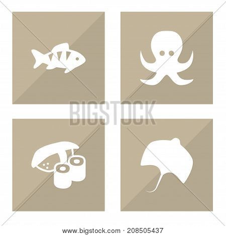 Collection Of Japanese Roll, Stingray, Devilfish And Other Elements.  Set Of 4 Sea Icons Set.