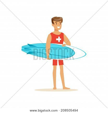 Male lifeguard in red shorts with surfboard, professional rescuer on the beach vector Illustration isolated on a white background