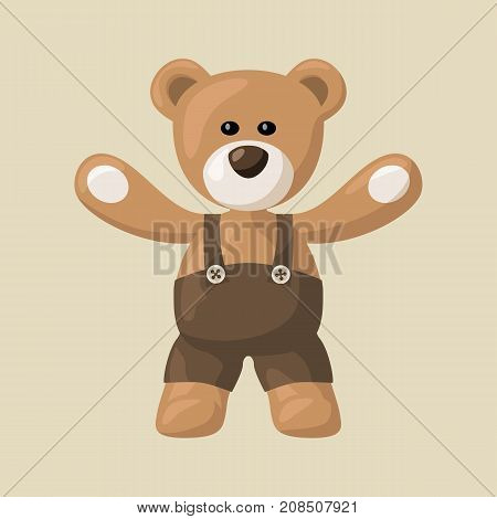 Simply illustration teddy bear with black pants.