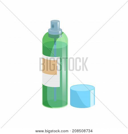 Cartoon style simple gradient hair spray fixation icon. Open green transparent container with blue cap. Hair care and styling accessory vector illustration.