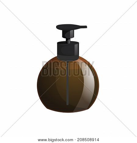 Cartoon trendy design professional hair care container. Spherical pump brown bottle with hair lotion liquid soap gel balm.