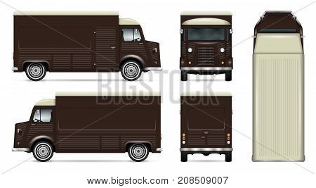 Retro food truck vector mock up for car branding advertising corporate identity. Mobile kitchen van template. All layers and groups well organized for easy editing. View from side front back top.