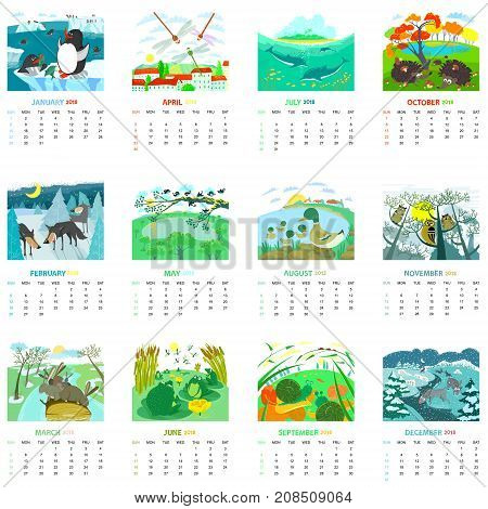 Monthly calendar 2018 with nature landscapes and animals birds insects. Design of pages for winter autumn spring summer seasons with cute animals. Vector illustration