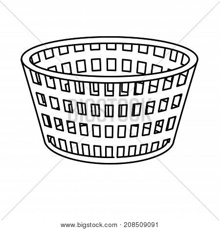 line basket to dirty clothes and domestic housework vector illustration