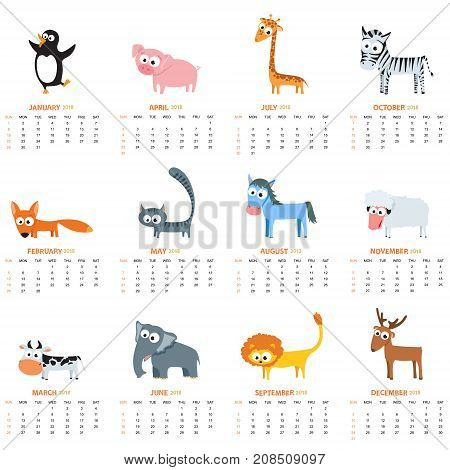 Monthly calendar 2018 with cute animals - pinguin fox zebra elephant sheep deer cow cat horse. Vector illustration for planner design cards printing wallpaper