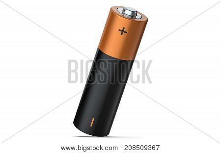 One AA Alkaline battery on white background. 3D render