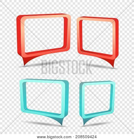 Red and blue frame tag discount sticker. Rectangular sale banner with item pointer. Business communication dialog or quote template sign. Empty promotion shape on transparent background