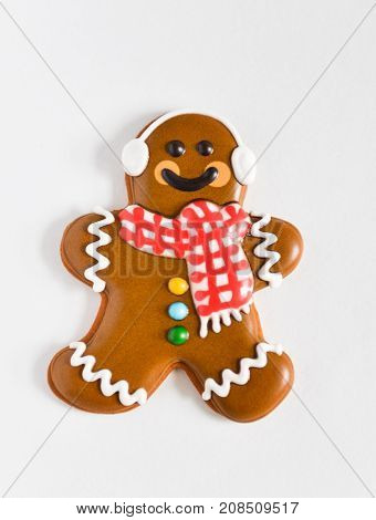 Christmas homemade gingerbread cookies on new year gift isolated on white background isolate. man