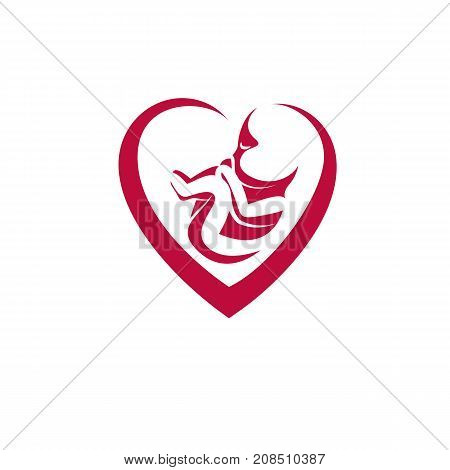 Human fetus hand-drawn vector illustration isolated on white. New life conceptual symbol.