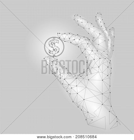 Low Poly Hand Hold Dollar Coin Carefully. Polygonal Triangle Connected Dot Point White Gray American
