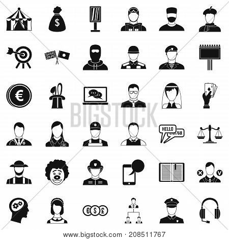 Headhunter icons set. Simple style of 36 headhunter vector icons for web isolated on white background