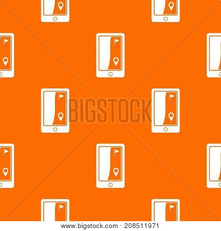 Golf course navigator pattern repeat seamless in orange color for any design. Vector geometric illustration