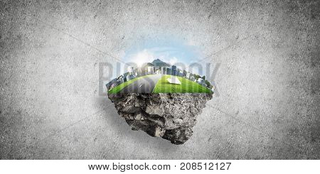 Eco green concept with cityscape on island against concrete background