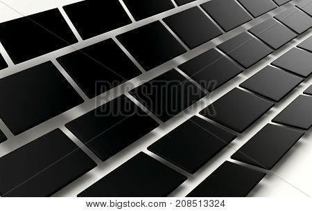 Abstract array of shinny black cubes on white background. 3d rendering