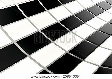 Abstract array of shinny black and white cubes on white background. 3d rendering