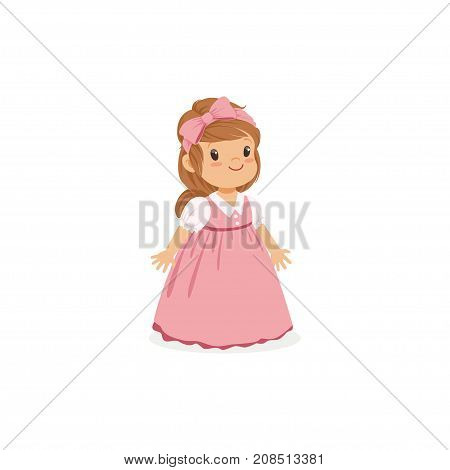 Beautiful little girl posing in pink long dress, young lady dressed up in classic retro style vector Illustration isolated on a white background