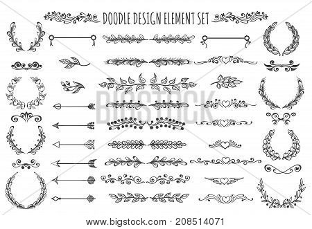Set of doodle design elements. hand drawn Arrows wreaths dividers headers hearts and other floral elements for ypur design. Vector illustration.