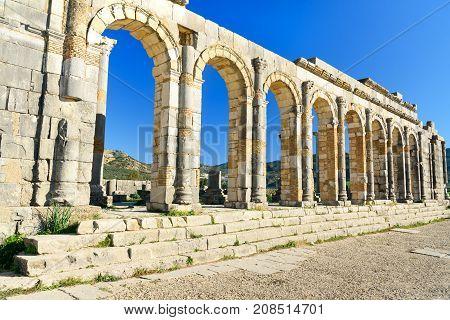 Basilica In Roman Ruins, Ancient Roman City Of Volubilis. Morocco