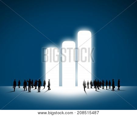 Large group of business people and big graph symbol