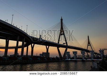 Sunset Scene Bhumibol Bridge Bangkok in Thailand