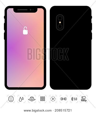 Vector Illustration Of New Mobile Phone Front And Back Side. Isolated Smartphone Mockup With Lock Co