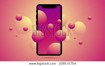 Vector Realistic Illustration Of New Mobile Phone Front Side Wit