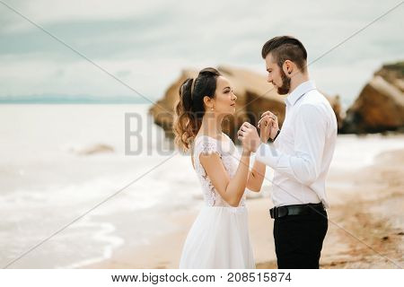 Young Couple Groom With The Bride On A Sandy Beach