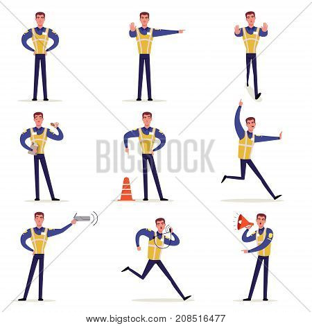 Traffic officer in uniform with high visibility vest set, policeman standing at crossroads and making sign with his hands vector Illustrations isolated on a white background