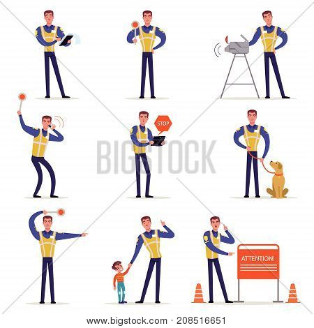 Traffic officer in uniform with high visibility vest set, policeman in different situations vector Illustrations isolated on a white background