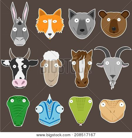 A set of stickers with painted animals heads.