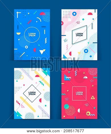 Set of neo memphis style covers. Collection of cool bright covers. Abstract shapes compositions. Vector