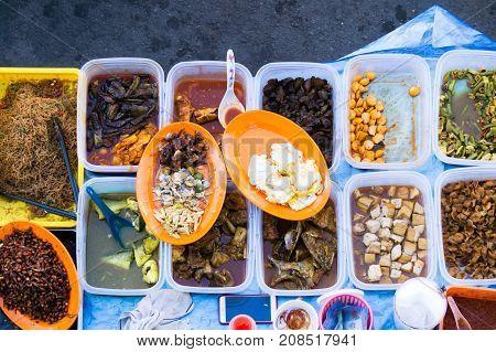 Varieties of food and drinks at Kota kinabalu city food street market.