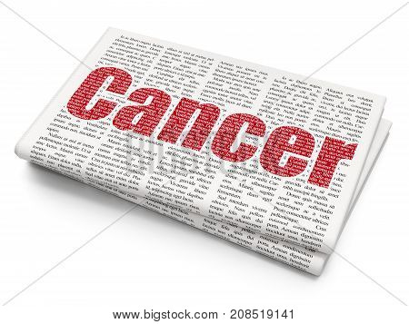 Medicine concept: Pixelated red text Cancer on Newspaper background, 3D rendering