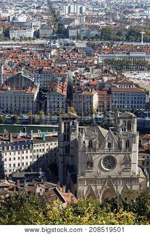 Lyon, France, October 11, 2017 : Cathedral Saint-jean Seen From Fourviere Hill. The Cathedral Is Kno