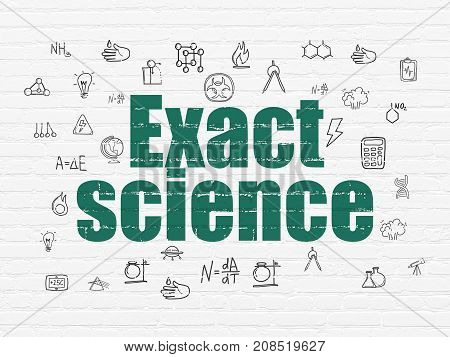 Science concept: Painted green text Exact Science on White Brick wall background with  Hand Drawn Science Icons
