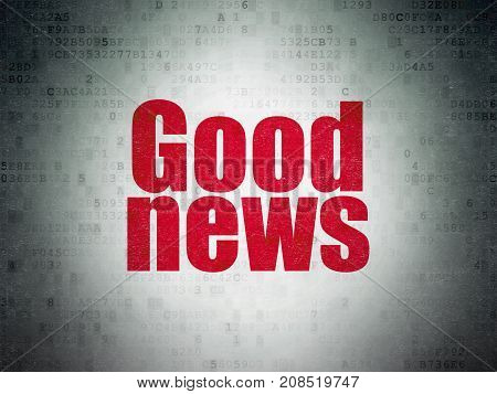 News concept: Painted red word Good News on Digital Data Paper background