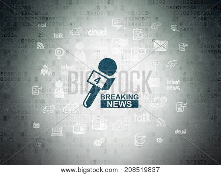 News concept: Painted blue Breaking News And Microphone icon on Digital Data Paper background with  Hand Drawn News Icons