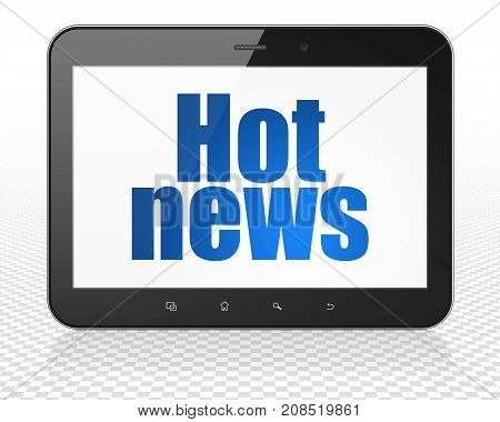 News concept: Tablet Pc Computer with blue text Hot News on display, 3D rendering
