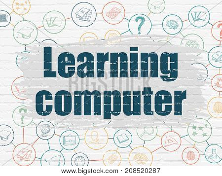 Learning concept: Painted blue text Learning Computer on White Brick wall background with Scheme Of Hand Drawn Education Icons