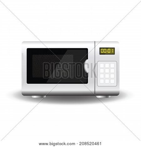 White Microwave Isolated on White Background. Kitchen Accessories and Appliances.