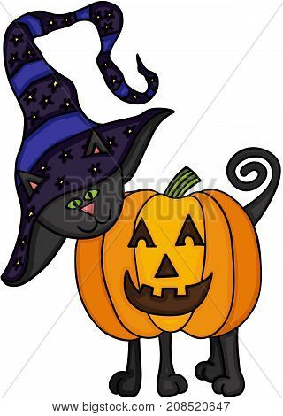Scalable vectorial image representing a Halloween black cat, isolated on white.