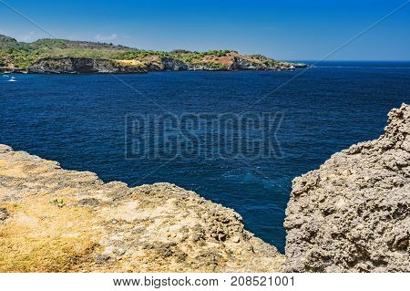View of the surrounding landscape Angels Billabong from Nusa Penida