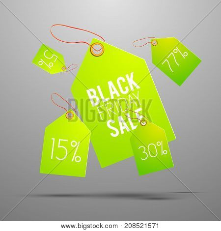 Bright green sale tag set with percent of sale and black friday sale description on one of all vector illustration