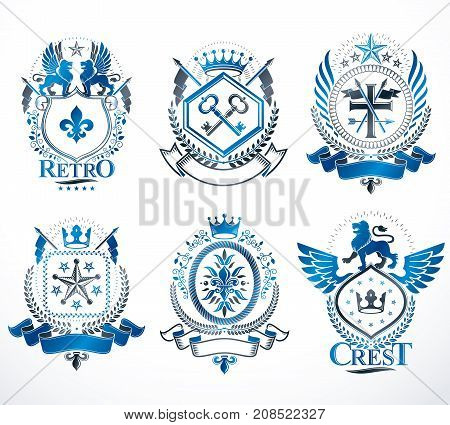 Set of vector vintage emblems created with decorative elements like crowns stars crosses armory and animals. Collection of heraldic coat of arms.