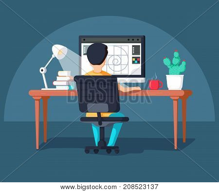 Graphic design professional in the middle of workflow back view. Cool vector flat design illustration on creative specialist at work with man working with graphic editor on desktop computer
