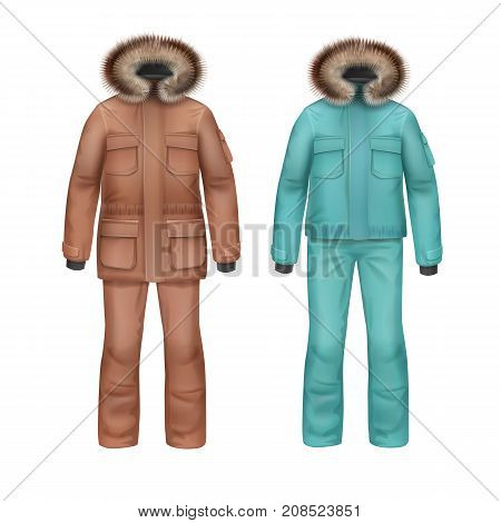 Vector brown and turquoise sport winter coat with fur hood and pants front view isolated on white background