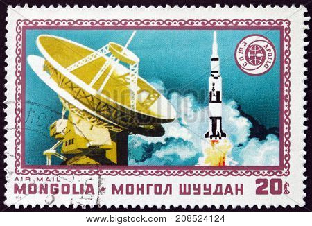 MONGOLIA - CIRCA 1975: a stamp printed in Mongolia shows Radar and Apollo Apollo Soyuz Space Test Project Space Cooperation circa 1975