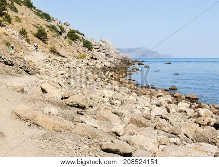 New World, Crimea - 12 July, A long stony shore, 12 July, 2017. Travel along the coast along the path of Prince Golitsyn.